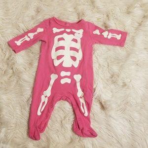 Hot pink glow n the dark skeleton pjs